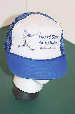 1980s GRAND SLAM AUTO SALES Edmore, MI Baseball Trucker Style Snapback Hat Cap