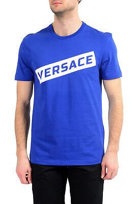 Versace Men's White & Blue Logo Crewneck T-Shirt US S M L XL 2XL