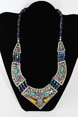 tolle ausgefallene Halskette aus Tibetsilber mit Lapis, Türkis und gelbe Steine