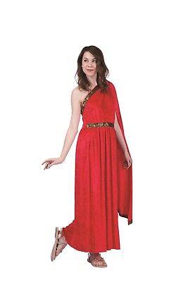 ROMAN TOGA DRESS COSTUME Goddess Egyptian Greek Athena Red Halloween - Red Toga Kostüm