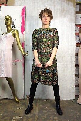 Damenkleid Blumenkleid asiatisch 60er TRUE VINTAGE 60s alien dress silky flowers