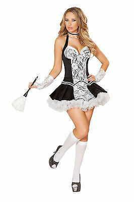 French Maid Duster (Sexy Adult Halloween Roma Women's Cleaning Cutie French Maid Costume w)