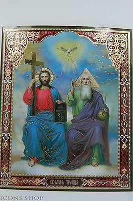 The Holy Trinity Icon Ikone Heilige Dreifaltigkeit  Святая Троица Икона 20Х24Cm