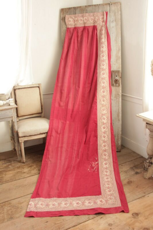 Curtain drape TIMEWORN French Turkey red with printed border c 1870 red old ~~