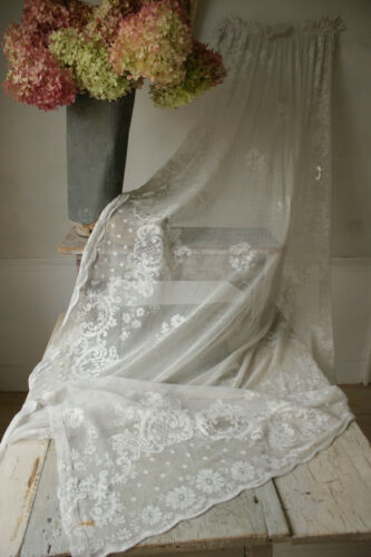 CURTAIN Vintage White tambour lace embroidered textile shabby chic c1900