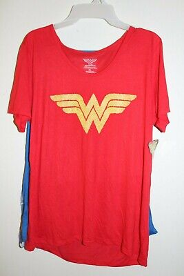 Wonder Woman T Shirt Cape (NEW Junior's Wonder Woman Tee w/ 2 Detachable Capes Logo Short Sleeve)