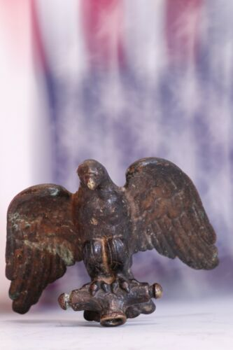 Antique Gold Gilt Solid Brass/Bronze Eagle Finial Rich Natural Patina