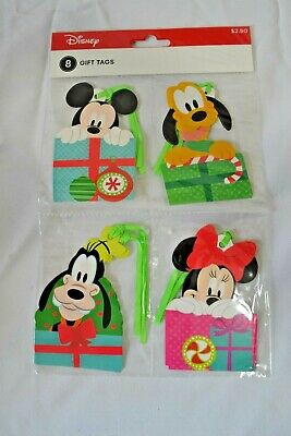 Disney Set of 8 Christmas Gift Present Tags Mickey Minnie Pluto Goofy NEW