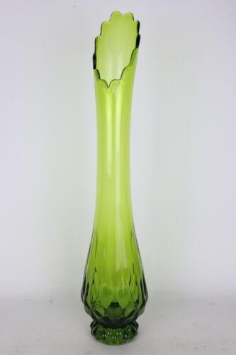 "Large 23"" Viking Green Art Glass Swung Vase Mid Century Modern Avocado"