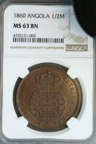 Angola 1860 1/2 Macuta NGC MS63BN Very Rare in High Grade
