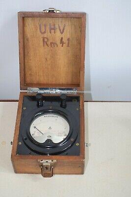 Antique Steampunk Kilovolt Meter In Wooden Case - 0 4 Kilovolts Model 23