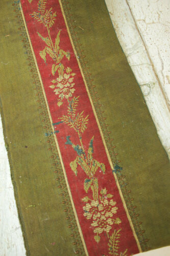 French fabric woven border antique floral dark green and red silk & wool