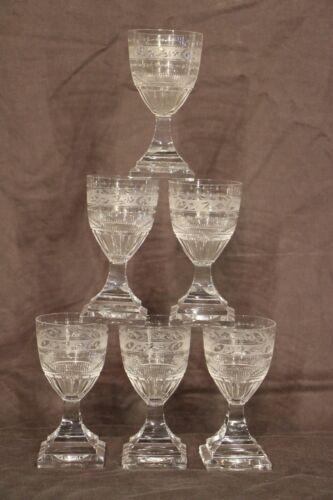 6 Big Antique Cut Crystal Kosta Goblets Wine Glasses