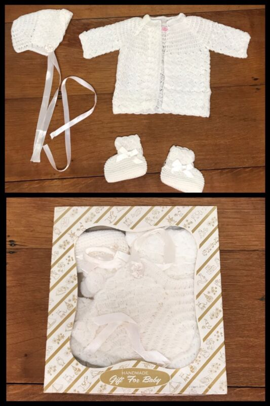 Vintage Baby SWEATER BOOTIES BONNET Set Acrylic White Glo Knit 0 - 6 month 1950s