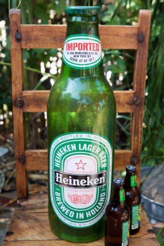"""Huge 24"""" 1960s Vintage Plastic Heineken Beer Bottle Advertising Display-B"""