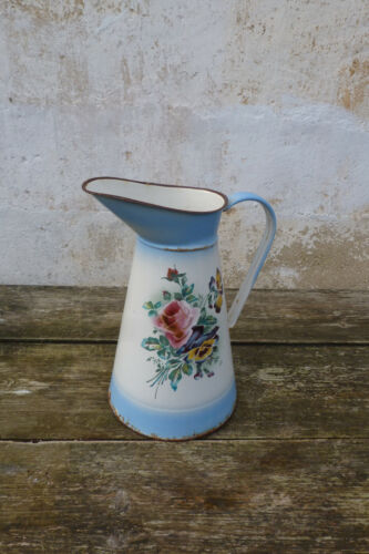Vintage old  French 1900 enameled tole pitcher granitware floral
