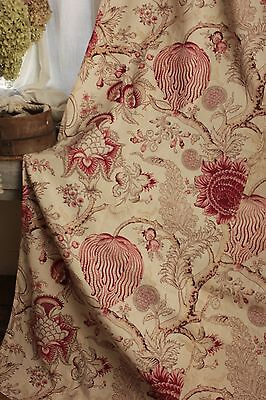 Vintage French palampore inspired Indienne design curtain c 1940's