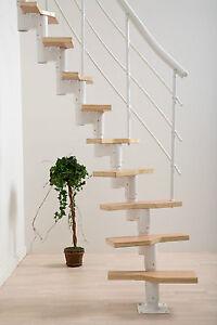 Raumspartreppe weiß, Multiplex-Stufen, Buche. Für Geschosshöhen 222-276 cm.
