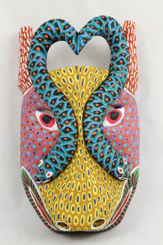 Wood Hanging Mask Hand Crafted/Painted Décor Mexican Folk Art Signed 2 Snakes