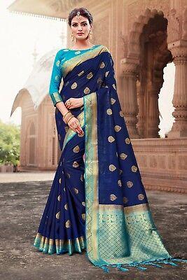 Indian Saree Sari Bollywood Wedding Navy Blue Woven Banarasi Art Silk -C1056
