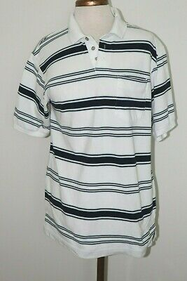 Men's Polo Shirt by Knightsbridge Cool Plus White with Navy Stripes Size Medium Cool Plus Stripe Polo