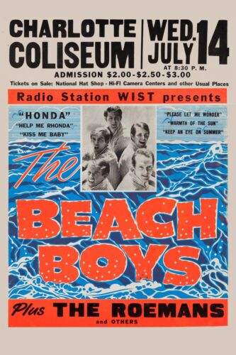 The Beach Boys at  Charlotte NC.  Concert  Poster 1965  12x18
