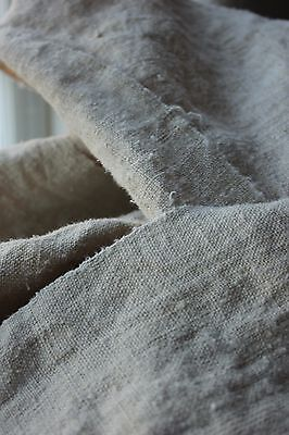 Vintage WASHED LINEN  heavy upholstery fabric 3.8 yards organic 25 WIDE old