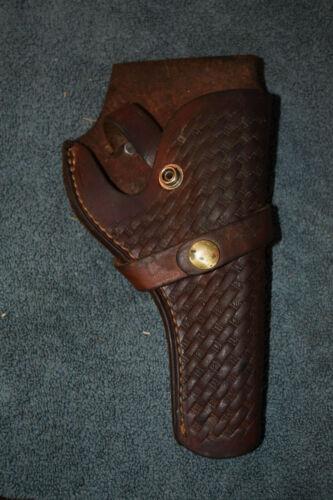 Vintage Brauer Bros. Pistol Hand Gun Holster Basketweave Tooled Leather H819