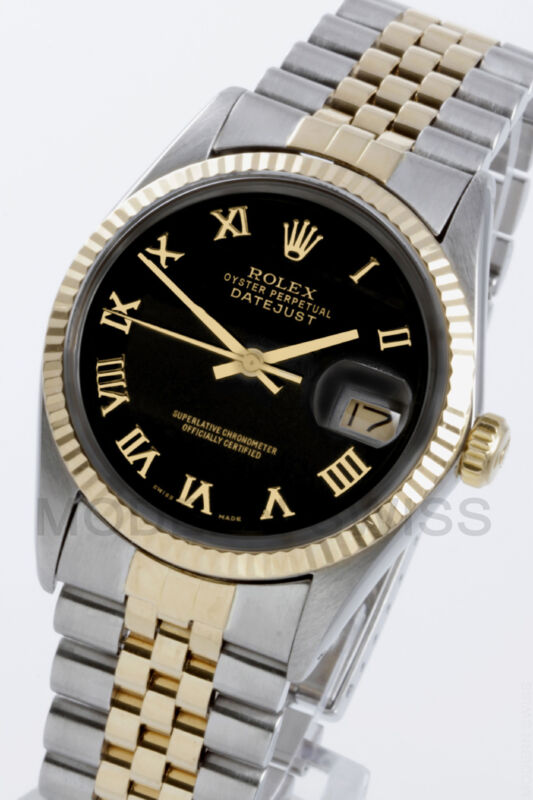 Rolex Mens Datejust 18k Gold & Steel Black Roman Fluted Jubilee 16013 Quickset