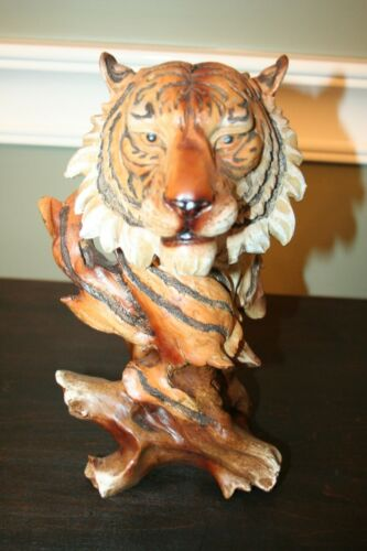 "Tiger Head Bust Faux Carved Wood Look Figurine 11"" High Resin Statue"