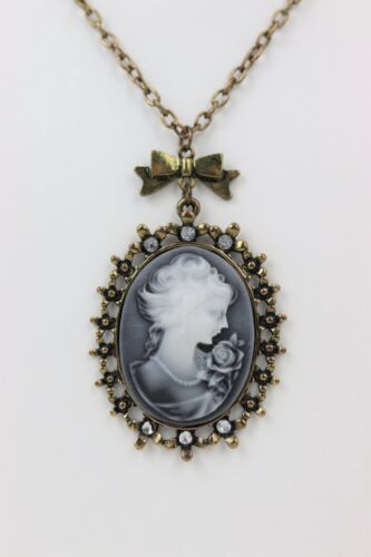 Vintage Unsigned Large Cameo Necklace Smoky Antique Tone with Rhinestone