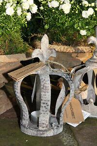 Krone Teelichthalter Metall grau Lilie Schmal shabby chic Vintage Style Landhaus