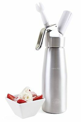 ICO Professional Whipped Cream Dispenser (1 Pint) Silver All Aluminum Body Chefs
