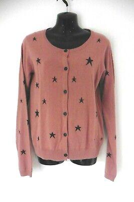 MAISON SCOTCH DUSTY PINK STAR PRINT LONG SLEEVE CARDIGAN SIZE M / UK 12 (R65)