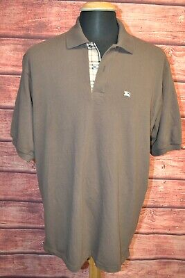 Burberry London Men's Nova Check Brown Golf Polo Short Sleeve Shirt Sz XL
