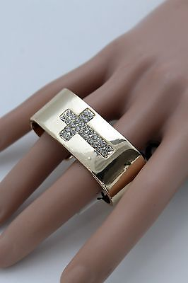 (Women Gold Metal Wide Ring Fashion 2 Finger Religious Cross Bling Trendy Jewelry)
