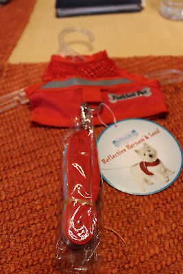 Fashion Pet Reflective Harness with Lead Red  XSmall New Fashion Pet Leads