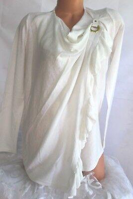 Ruffle Neck Wrap - INC PETITE (M) Sweater WRAP Ruffle WASHED WHITE Cowl Neck Snap Close MSRP $79.50