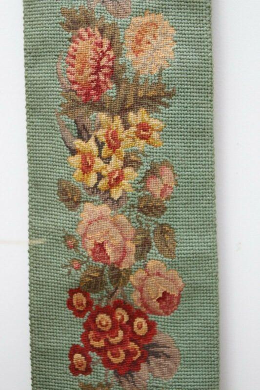 Best Vintage Needlepoint Bell Pull Floral Tapestry Flower w Brass Belk Estate