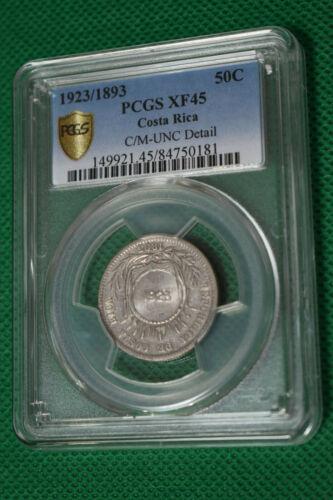 1923/1893 Costa Rica 50c PCGS XF45 Silver
