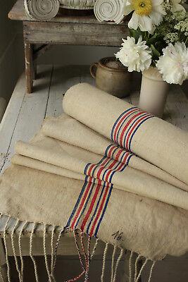 Vintage homespun grain sack fabric blue and red stripes linen 12.39 YARDS hemp