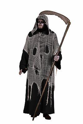 Deluxe Halloween Herren-Kostüm Der Tod Kutte Kapuze Fetzen - Der Sensenmann Halloween Kostüm