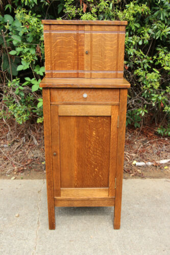 Unusual Mission Tiger Oak Arts and Crafts Period Vice Cabinet ~ Ca.1910