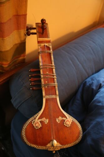 Miniature Sitar (Banjira) from India, Decorative item (for display), with Inlay