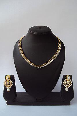 Indian Fashion Pearl Kundan Ethnic Bollywood Designer Necklace Jewelry Set