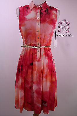 Calvin Klein New Chiffon Fit Flare Belt Dress CD6HH4N2 Size 2 4 6 8 10 12 14 NWT](Dresses Size 10 12)