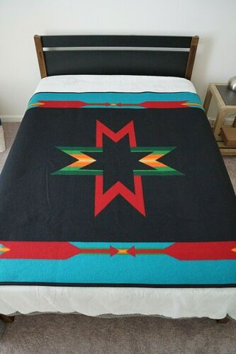 "Pendleton Southwest Tribal Wool Blanket Red/Black Sioux Star/ Arrows 64 x 66"""