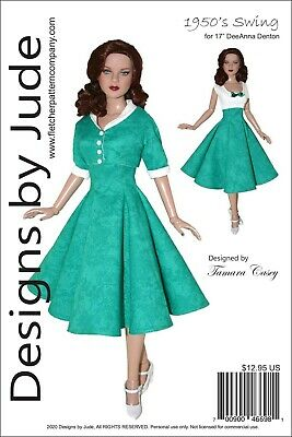 1950's Swing Doll Clothes Sewing Pattern for 17