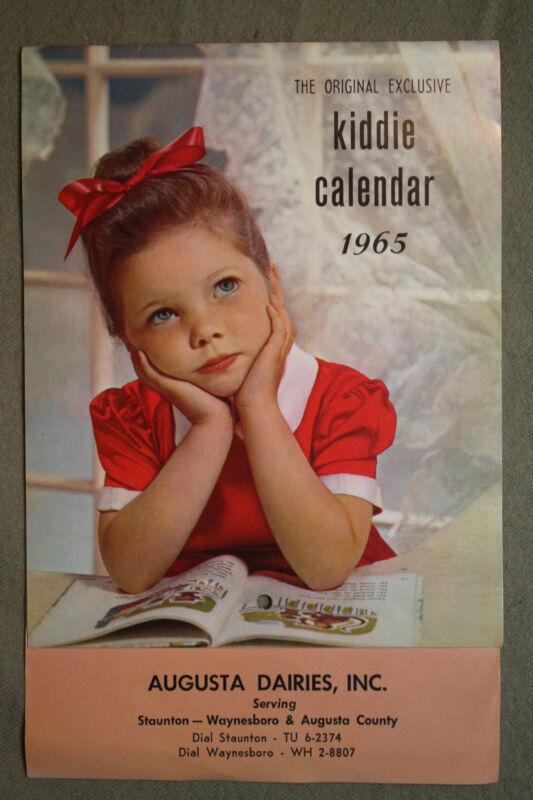 vtg old KIDDIE Calendar AUGUSTA DAIRIES Staunton Waynesboro Virginia children