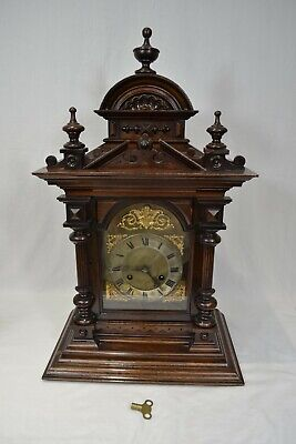 19th Century German mahogany bracket clock two gongs Junghans movement